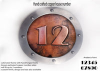 Medium copper house number,Metal house number, ROUNDED shape,Hand made metal sign, hand forged steel rivets, riveted signs, metal signs,