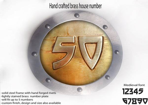 Brass House Number Rounded