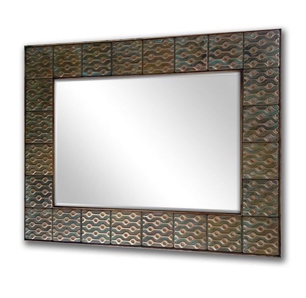 Artistic Copper Mirror Frame - Aztec Design