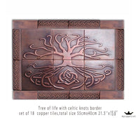 Metal tiles, Unique tiles, Set of 18 tiles made of copper, Metal backsplash
