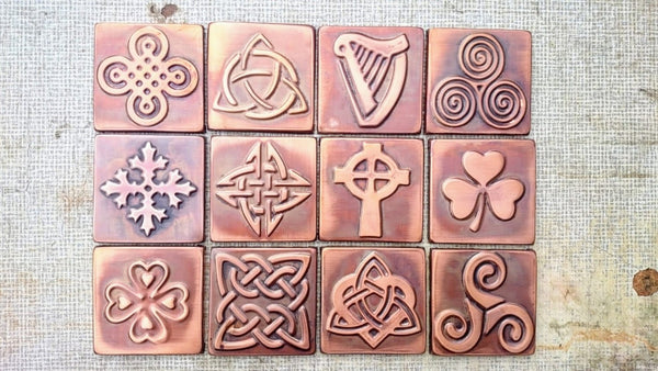 Copper Tiles With Celtic Symbols - Set of 4