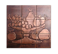 Fruit bowl tiles, fruit  tiles, Set of 9.  copper design, accent  tiles, metal  decor, KITCHEN TILES