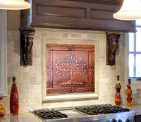Tree of Life Kitchen Backsplash metal tiles - set of 9