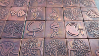 Handmade tiles, FRIUT AND VEG tiles,   Handcrafted tiles, Copper or Brass tiles, Set of 6 tiles   kitchen accent, accent  tiles