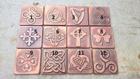 Celtic tiles, celtic symbols, Set of 4 copper celtic  tiles , Celtic decor, celtic shamrock, triskel, celtic knot, copper decor, accent tile