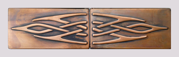 Copper tiles, 2 celtic knots tiles, unique copper decors for your wall