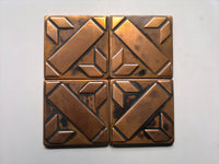Brown Patined Copper Tiles - set of 32 pcs.
