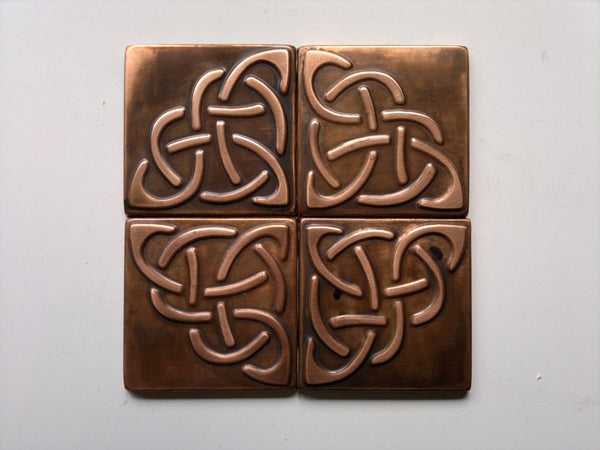 Celtic Metal Tiles Copper or Brass - set of 4