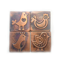 Kitchen Copper Tiles with Birds - set of 4