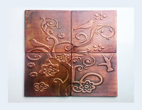 Birds and Flowers Copper Tiles - Set of 4