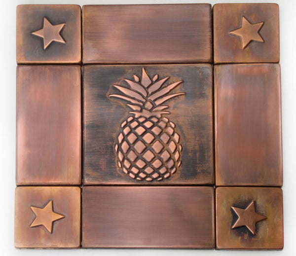 Pineapple decor, Handmade tiles,  backsplash, copper tiles, handmade copper tiles that will make great kitchen basckplash.