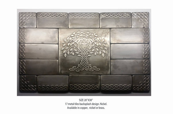 Metal Backsplash Celtic Tree of Life - set of 17