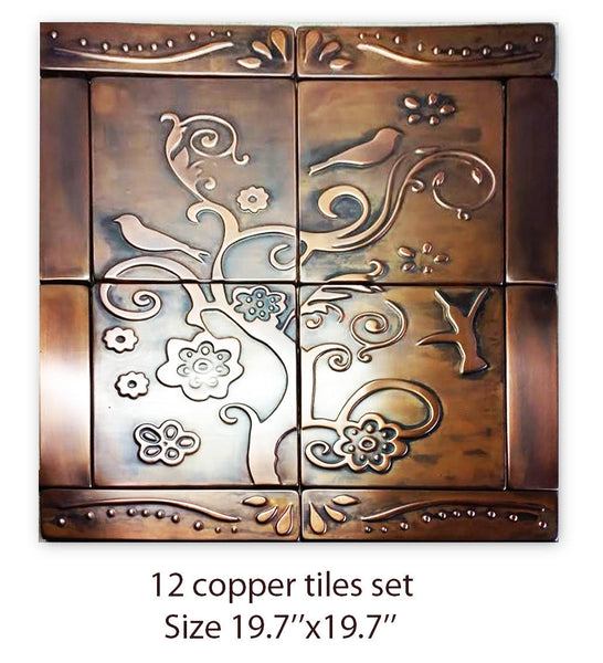 Birds and Flowers Copper Tiles - Set of 12