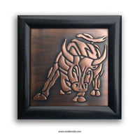 Taurus Zodiac Sign Framed Copper Plaque
