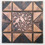Birds on Rustic Metal Tiles - Set of 9