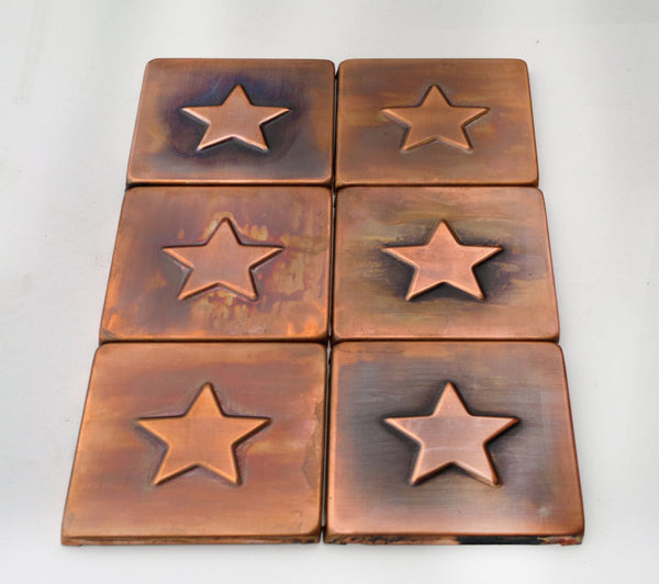 Brown Patinated Copper Tiles - Set of 6