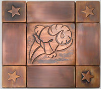 Aries Zodiac Sign – Set of 9 Copper Backsplash Tiles