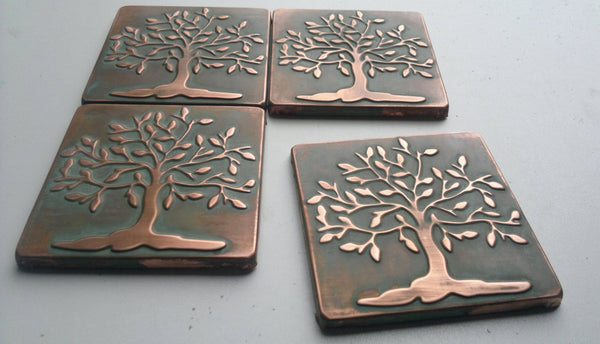 Tree of Life Shinny Metal Tiles - Set of 4
