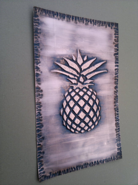 Pineapple Wall Art Tile in Brown Patina