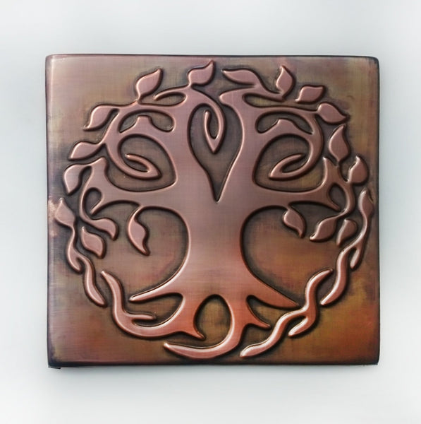 Celtic Tree of life, tree of happiness, metal wall art,   metal decorative tiles, copper decor, rustic, accent kitchen tile, vintage decor