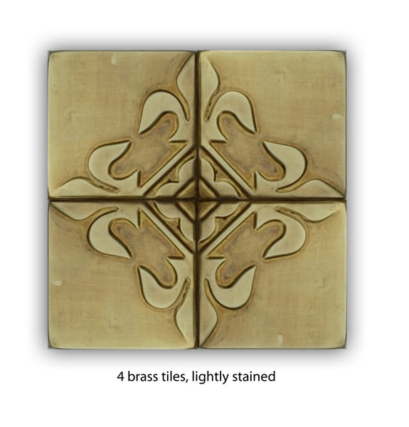 Copper or Brass Rustic Wall Art Tiles - Set of 4