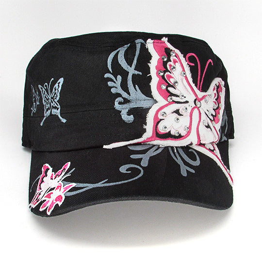 Fashion castro hat with butterfly