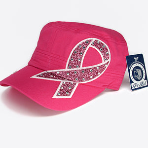 Fashion castro hat with pink cancer ribbon