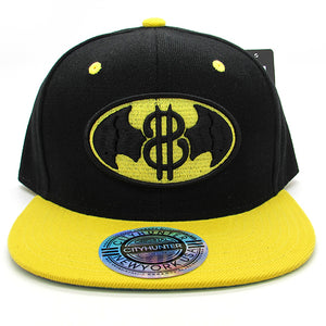 Dollar sign and bat wing emblem baseball hat