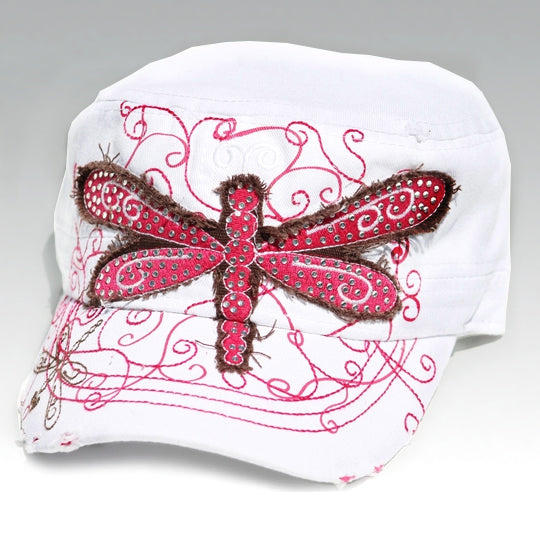 White cadet hat with pink dragon fly
