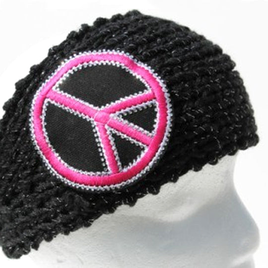 Black knit head wrap with large pink peace sign - mmzone