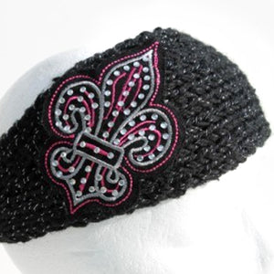 Black knit head wrap with large pink and silver fleur de lis - mmzone