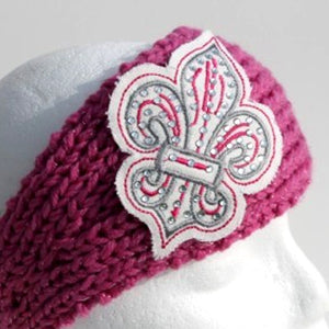 Pink knit head wrap with silver and pink fleur de lis