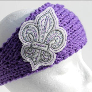 Purple knit head wrap with white and silver Fleur De Lis