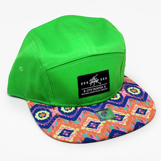 Neon green camo 5 Panel biker baseball hat