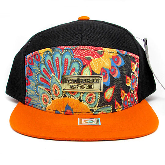 Peacock 7 panel baseball hat
