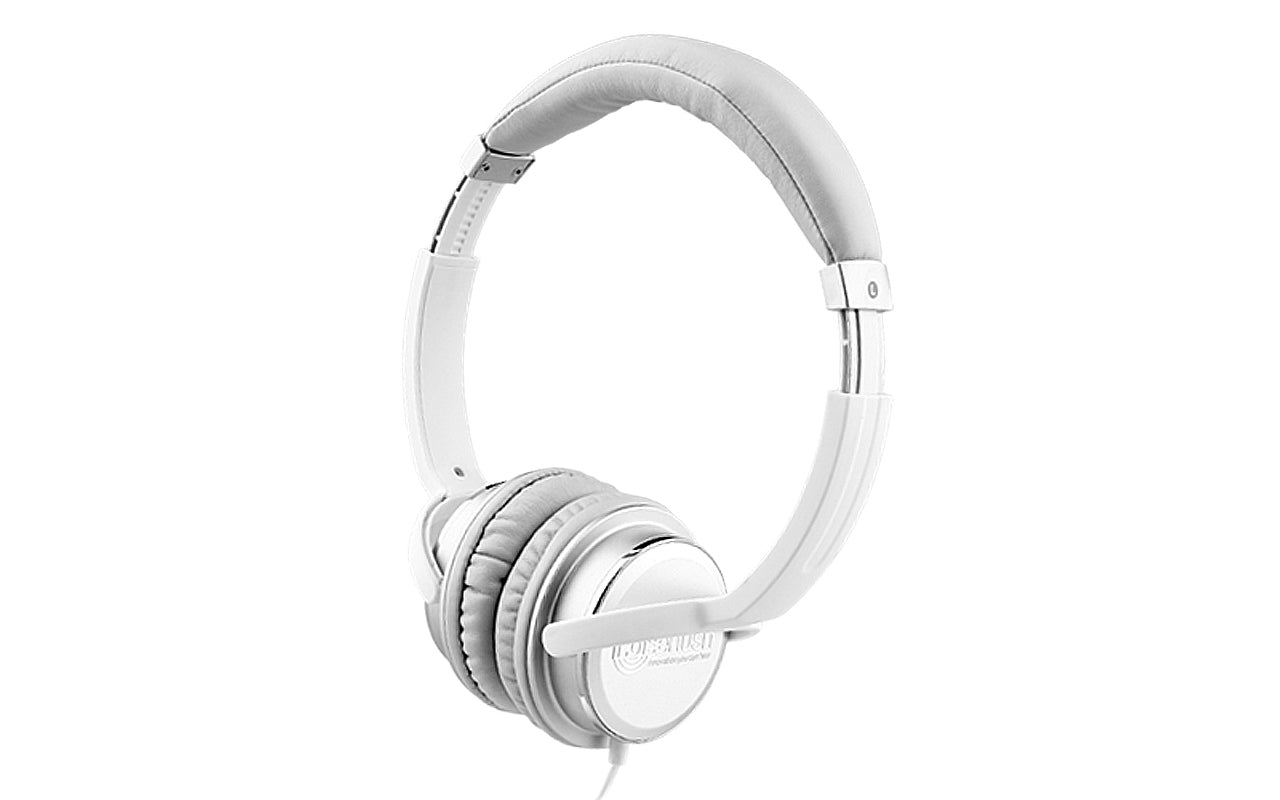 Noisehush NX26 3.5mm stereo headphones with in-line microphone - white and silver (Multiple Colors Available)