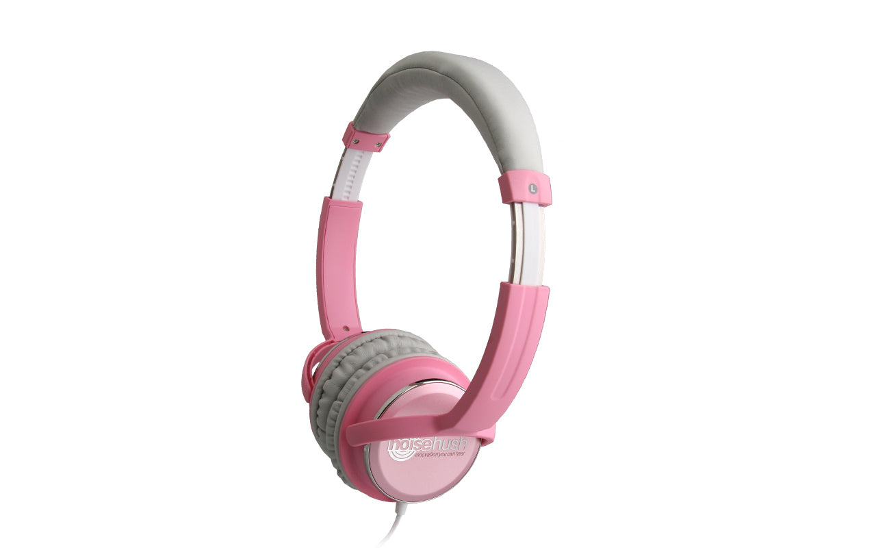 Noisehush NX26 3.5mm stereo headphones with in-line microphone - baby pink (Multiple Colors Available)
