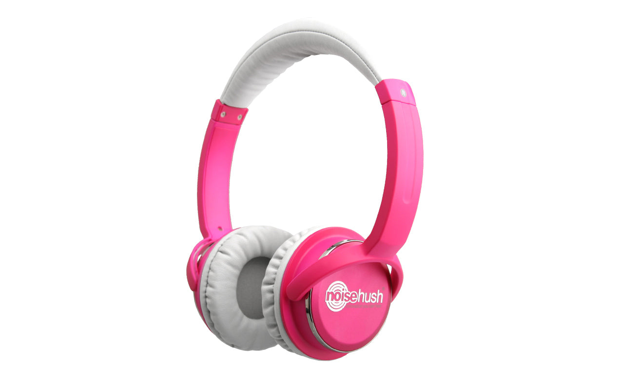 Noisehush NX26 3.5mm stereo headphones with in-line microphone - hot pink (Multiple Colors Available)