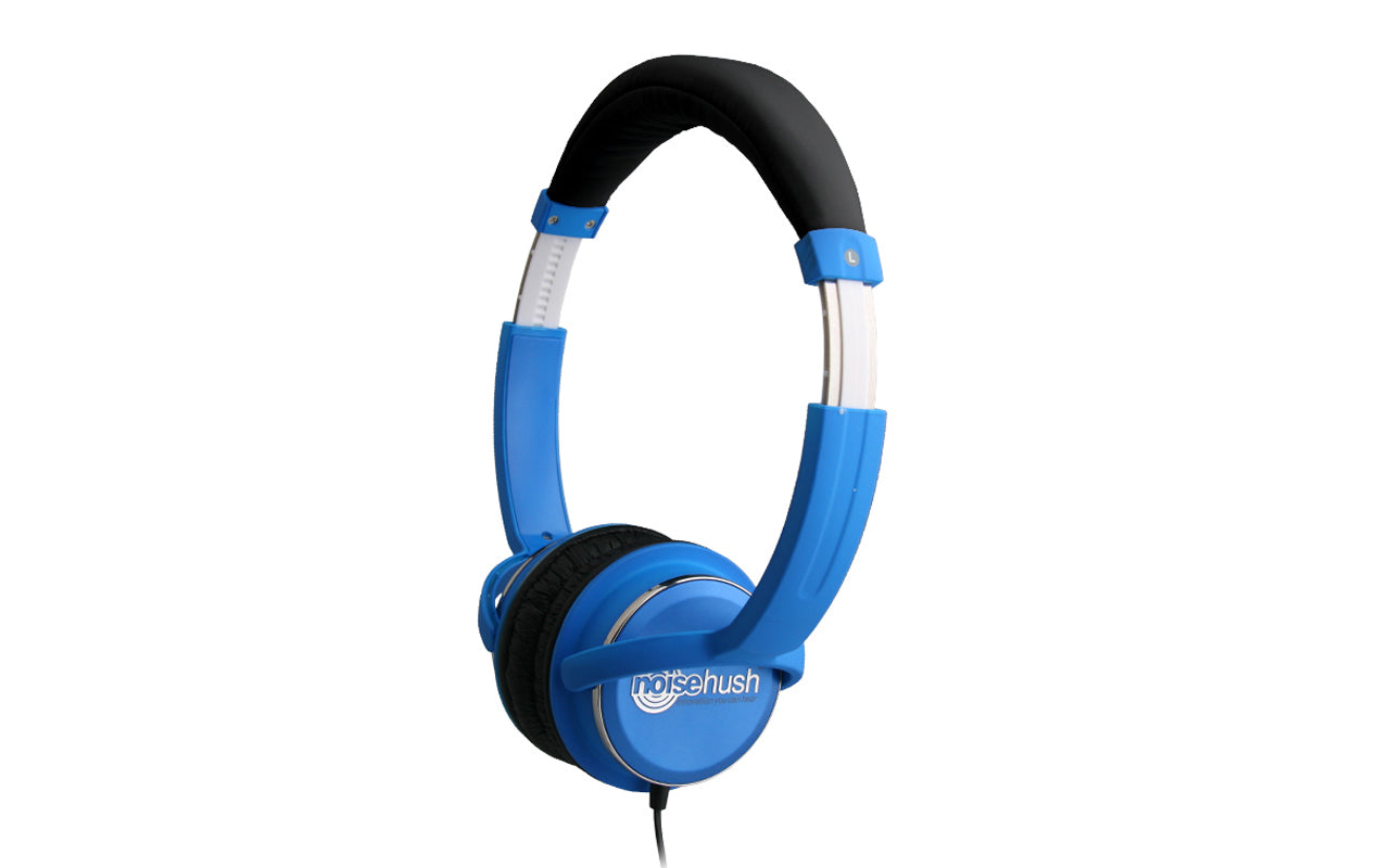 Noisehush NX26 3.5mm stereo headphones with in-line microphone - blue (Multiple Colors Available)