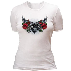 HOTTIE with wings and roses T-shirt - T-Shirts