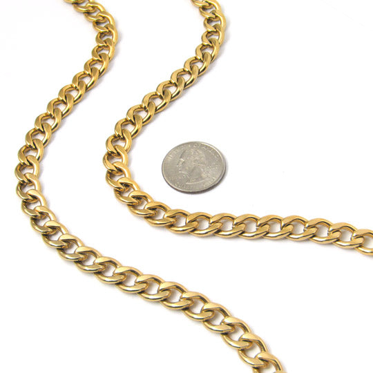 "30"" gold stainless steel link necklace, 12"" wide - mmzone"