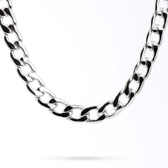 "30"" silver stainless steel link necklace, 12"" wide - mmzone"