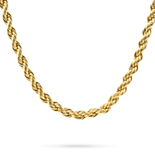 "30"" gold stainless steel rope necklace, 19"" wide - mmzone"