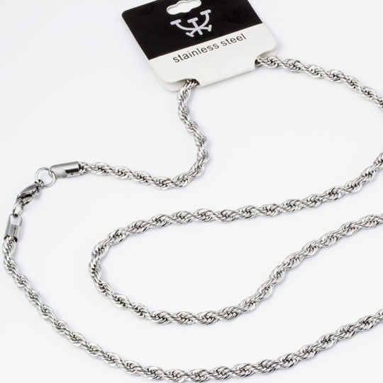 "30"" silver stainless steel rope necklace, 19"" wide - mmzone"