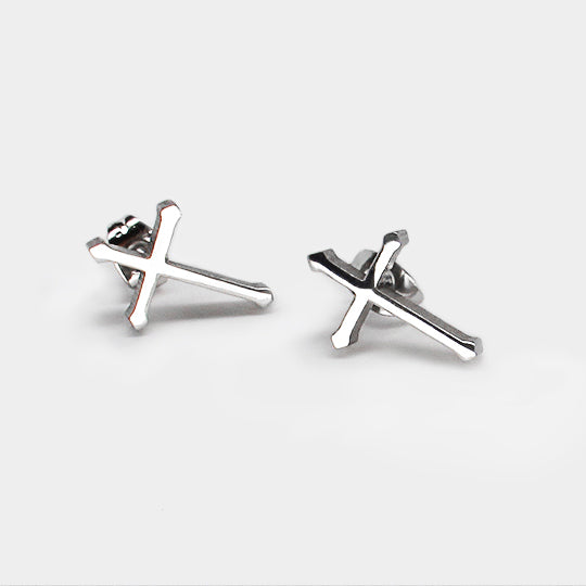 Stainless steel earrings - cross silver