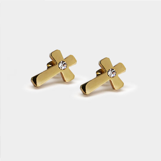 Stainless steel earring - gold cross