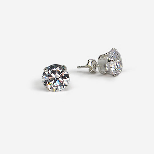 Sterling silver cz round 8mm boxed
