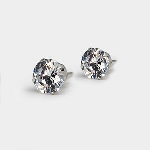 Sterling silver cz round 10 mm boxed