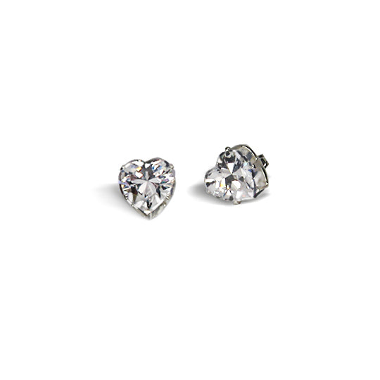 Sterling silver cz heart 8x8 boxed