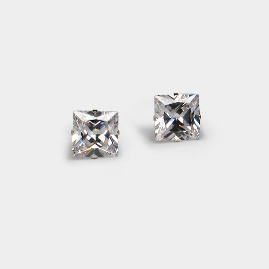 Sterling silver cz square 10x10 boxed